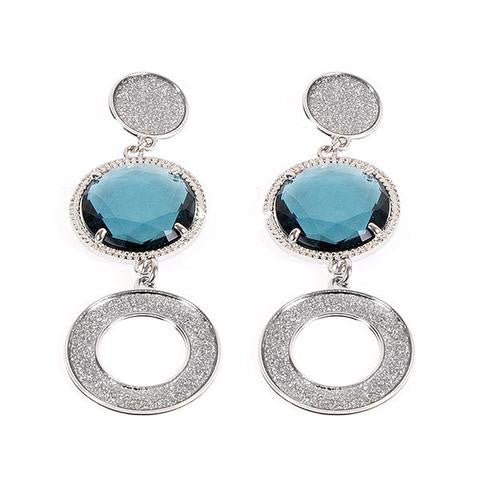 Rich Blue Crystal Earrings by Boccadamo