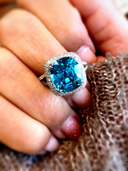 Cushion cut Blue Zircon and Diamond Ring by Simon G