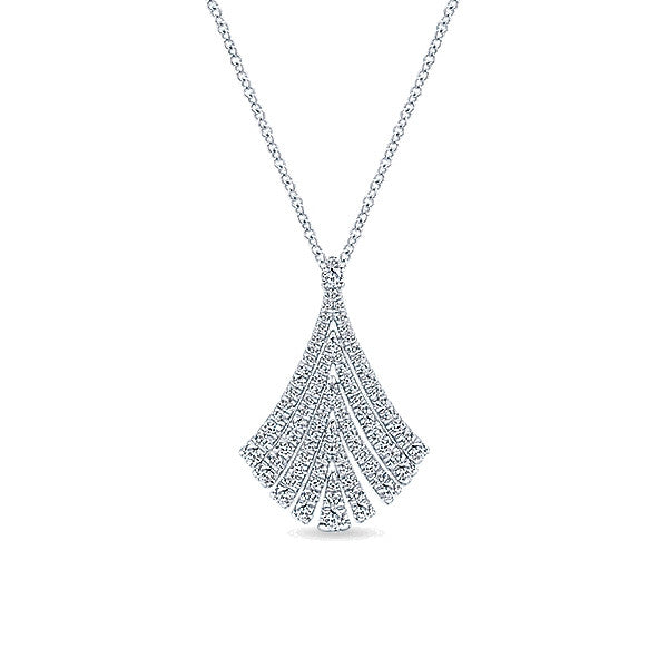 Elegant Diamond Fan Pendant by Gabriel & Co.
