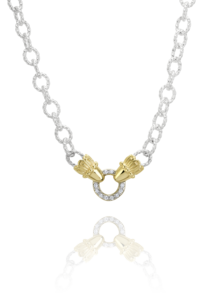 14k Yellow Gold and Silver Diamond Necklace by Vahan