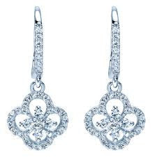 "14k White Gold ""CLover"" Diamond Earrings by Gabriel & Co."