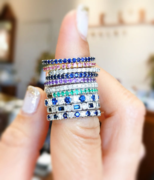 Colorful Diamond and Gemstone Stacking Bands by Gabriel & Co