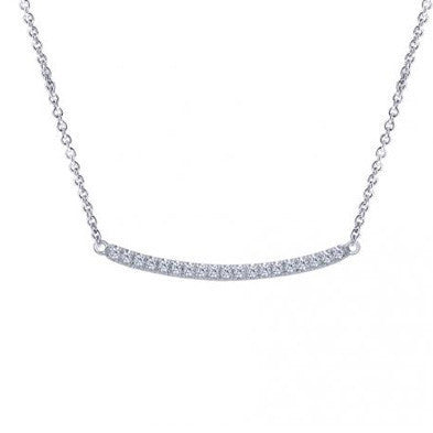 "Diamond ""Bar"" Necklace in 14k White Gold by Gabriel & Co"