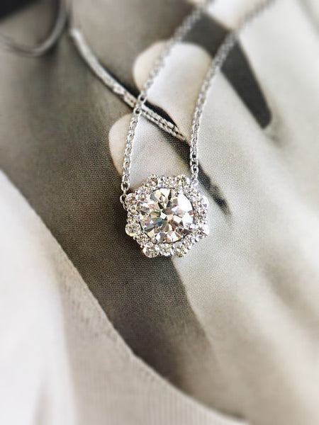 Custom Halo Diamond Pendant by Teels Jewelry