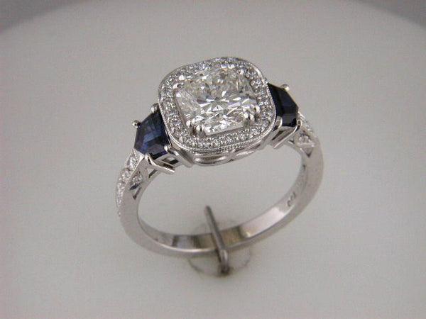Beautiful Custom Diamond Ring with Two Shield Shape Sapphires by Teels Jewelry