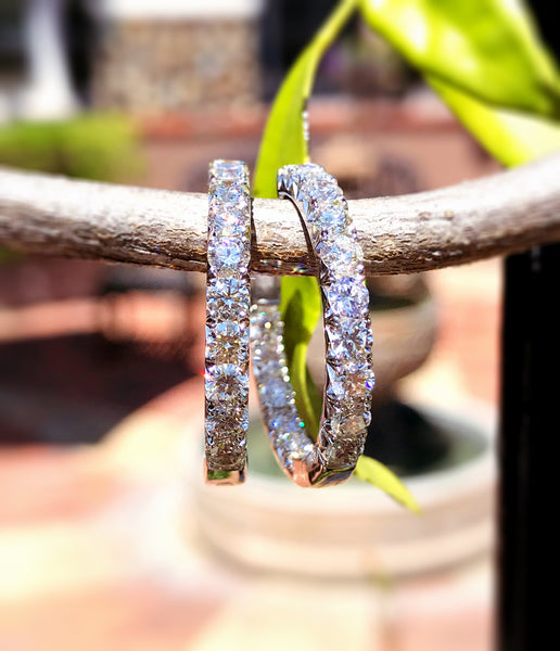 Inside Outside Diamond Hoops by Teels Jewelry