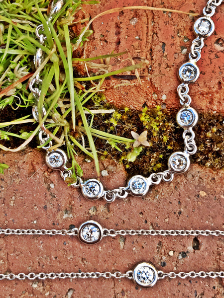 Diamonds by the Yard Necklace and Bracelet in 14k White Gold featured at Teels Jewelry