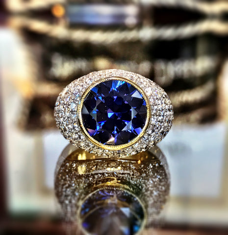 Custom Tanzanite and Diamond Dome Ring by Teel's Jewelry