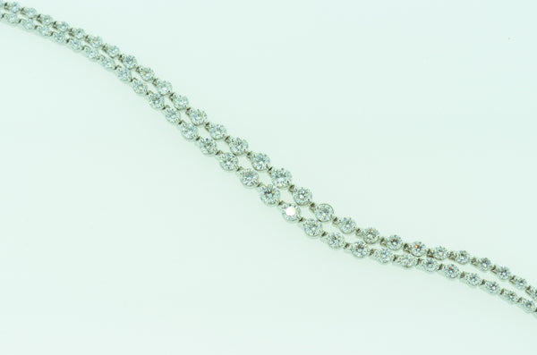 Two Row Diamond Tennis Bracelet in 14k White Gold by Teels Jewelry