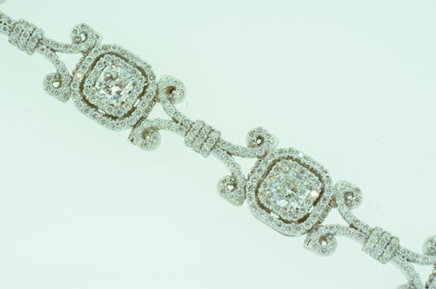 Exquisite Cushion Shape Diamond Bracelet by Teels Jewelry