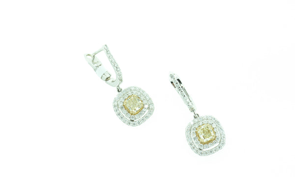 Fancy Yellow Diamond Dangle Earrings by Teels Jewelry