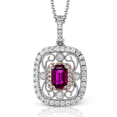 Emerald-Cut Ruby and Diamond Pendant by Simon G