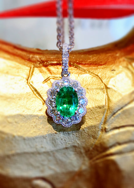 Bright Emerald and Diamond Pendant