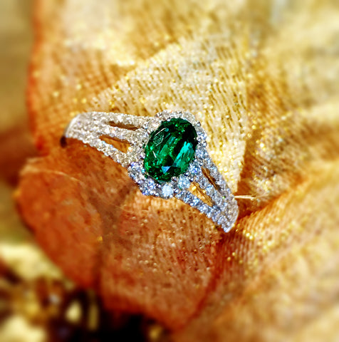 Diamond Halo and Emerald Ring by Teels Jewelry