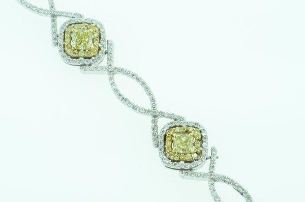Magnificent 18k Fancy Canary Diamond Bracelet featured by Teels Jewelry