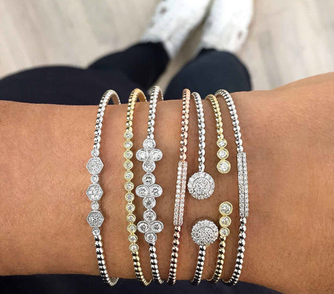 "Bezel and Pave Set ""Bujukan"" Diamond Bracelets by Gabriel & Co"