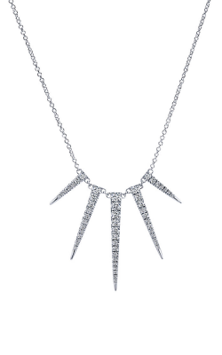 "14k White Gold and Diamond ""Icicle"" Necklace by Gabriel & Co"