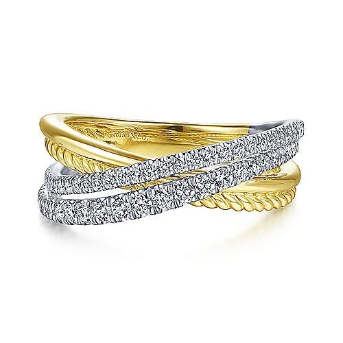 Two-tone Diamond Bypass Ring by Gabriel & Co