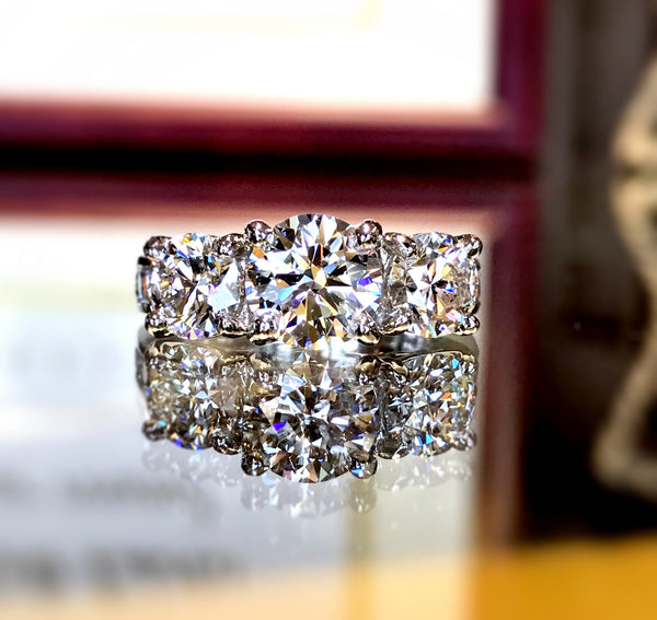 Extraordinary Three Stone Diamond Ring Custom Designed by Teels Jewelry