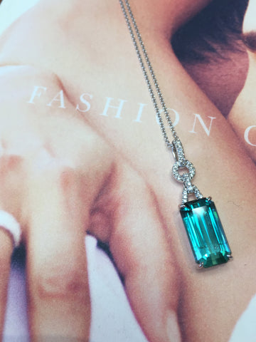 Green Tourmaline and Diamond Pendant featured at Teel's Jewelry