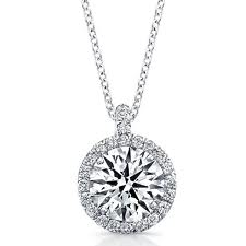 Diamond Solitaire Pendant with a Pave Diamond Halo by Teels Jewelry