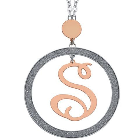 Rose and Silver Initial Pendant by Boccadamo
