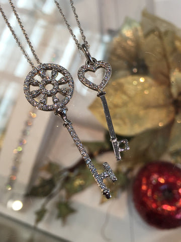 "14k White Gold Diamond ""Key"" Pendant by Teels Jewelry"