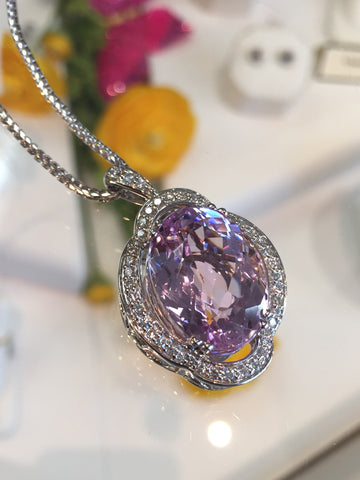 Gorgeous Custom Kunzite and Diamond Pendant by Teels Jewelry