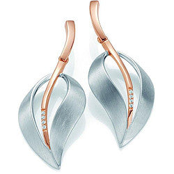Sterling Silver and Rose Gold Overlay Leaf Earrings by Breuning