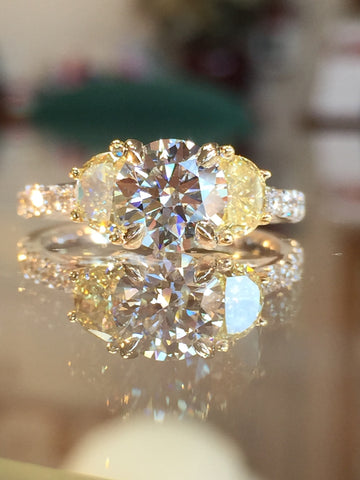 Custom Fancy Yellow and White Diamond Engagement Ring by Teels Jewelry