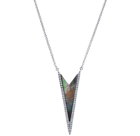 Stylish Mother of Pearl and Diamond Necklace by Gabriel & Co