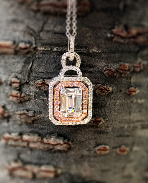 Fancy Pink and White Diamond Pendant by Simon G