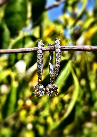 """Naked"" Diamond Dangle Earrings By Eloquence"