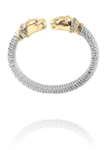 Fantastic Jaguar Style Cuff in 14k Yellow Gold and Sterling Silver by Vahan