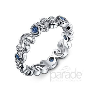 Beautiful Floral Motif Blue Sapphire and Diamond Band by Parade