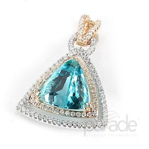 Unique Double Triangular Pave Halo Pendant with Trillion Center Stone by Parade
