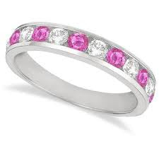 Classic Channel Set Pink or Blue Sapphire & Diamond Ring