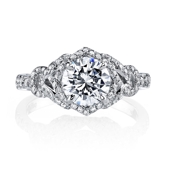 Lovely 18k White Gold Pave Engagement Ring by Parade Design