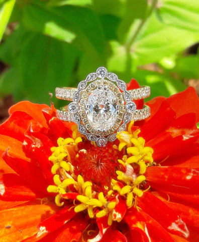 Custom Oval Engagement Ring with White and Fancy Yellow Diamonds by Teel's Jewelry