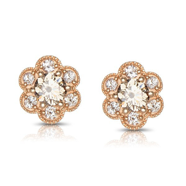 Floral Design Fancy Color Diamond Stud Earrings by MWI Eloquence