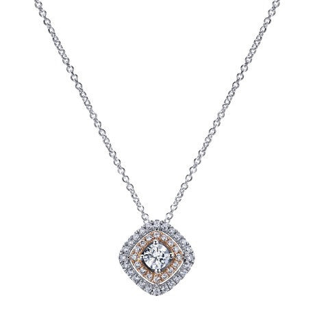 Lovely White and Rose Gold Diamond Pendant by Gabriel & Co