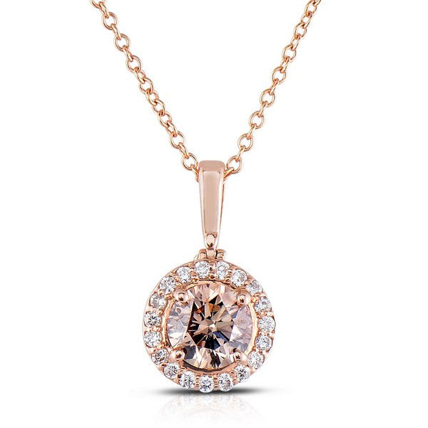 Rose Gold Pendant with Fancy Color Diamond Center and Pave Halo by MWI Eloquence