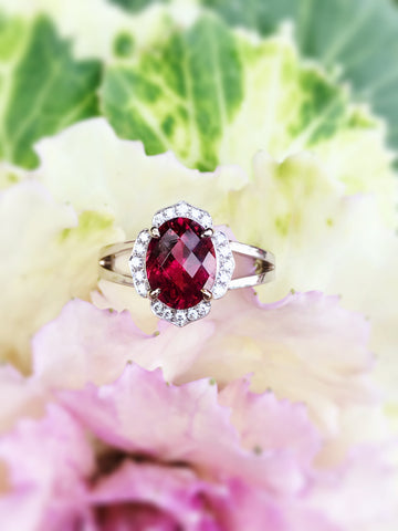 Pink Tourmaline and Diamond Ring by Teels Jewelry