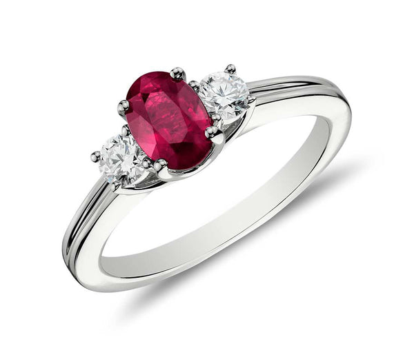 Lovely Ruby and Diamond Three Stone Ring featured by Teels Jewelry