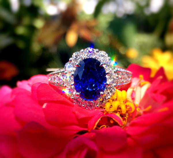 Custom Blue Sapphire and Diamond Ring by Teels Jewelry