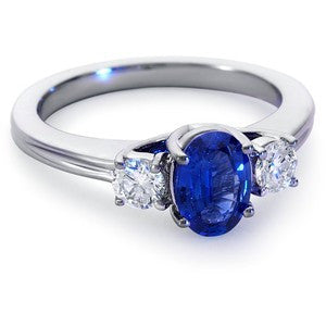Dazzling Three Stone Blue Sapphire and Diamond Ring featured by Teels Jewelry
