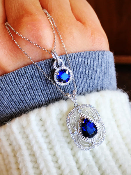 Superior Vintage Artistry in this Sapphire Diamond Filagree Pendant by Simon G.