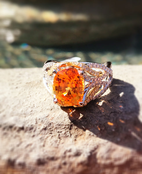 Spessartite Garnet and Diamond Ring at Teel's Jewelry