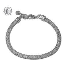 Sterling Silver Mesh Bracelet with Crystals by Metalsmiths Sterling