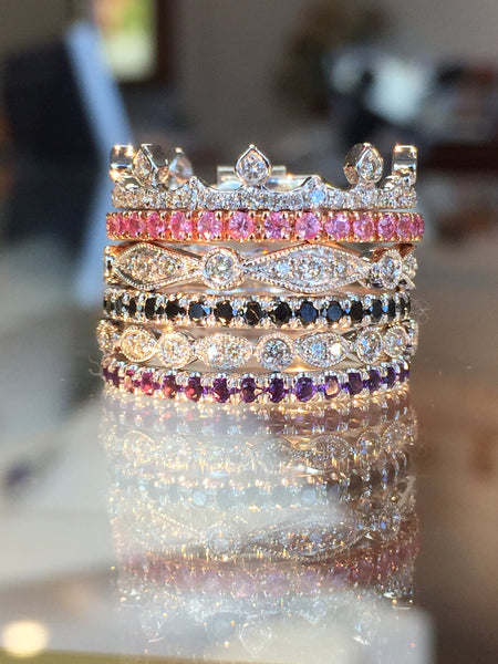 Fun Stacking Bands with Color Stones and Diamonds by Gabriel & Co